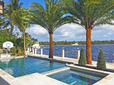 Beachfront landscaping in Fort Lauderdale, FL with proper irrigation and maintenance.