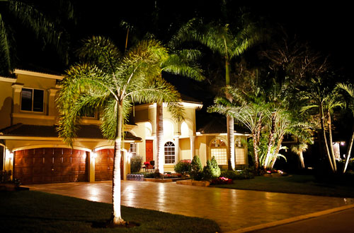Landscape lighting, highlighting a beautiful estate in Boca Raton, FL